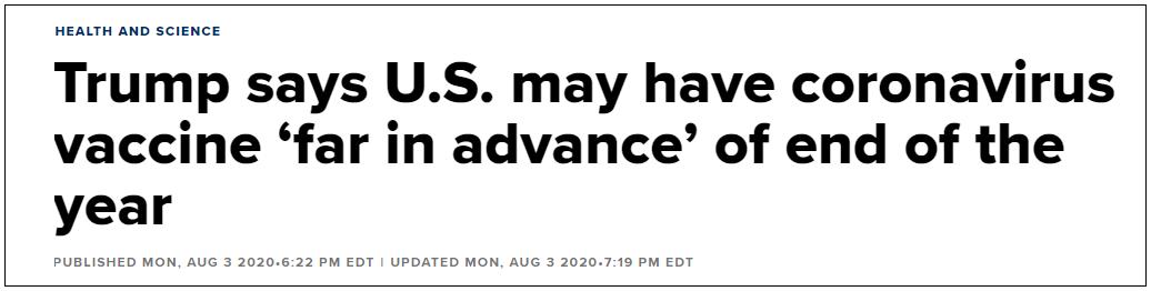 美国新冠疫苗讲在11月份研制成功