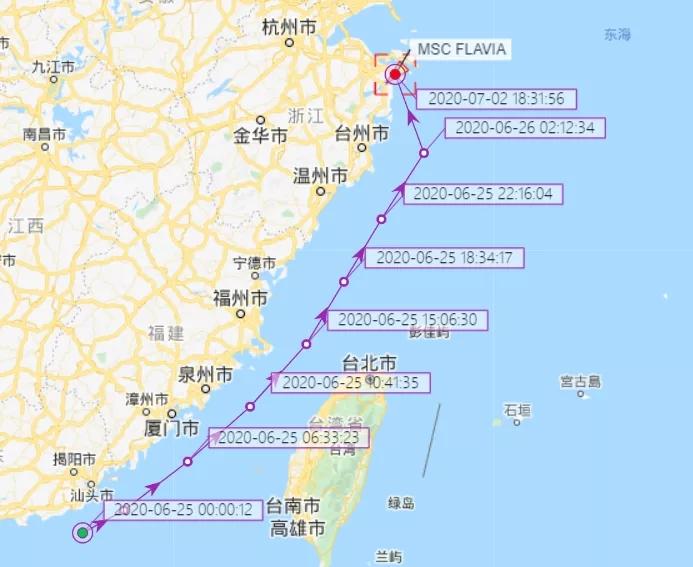 宁波港确诊新冠船轨迹