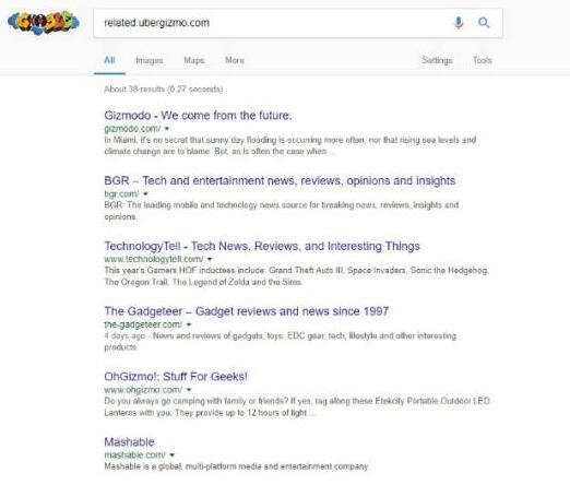 用谷歌搜索相似网站