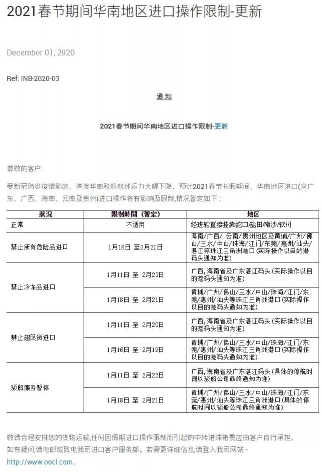 2021年春节期间华南地区进出口操作限制