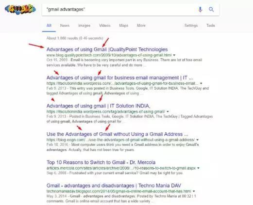 使用双引号来缩小谷歌搜索结果