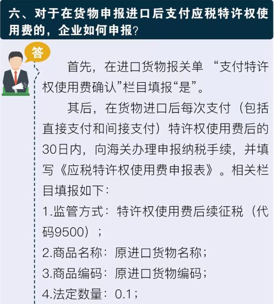 六对于在货物申报进口后支付应税特许权使用费的企业如何申报