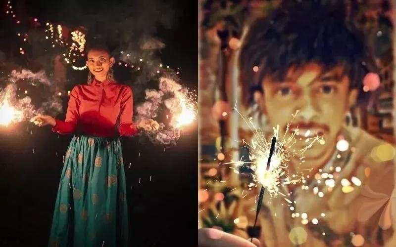 印度人民欢庆排灯节